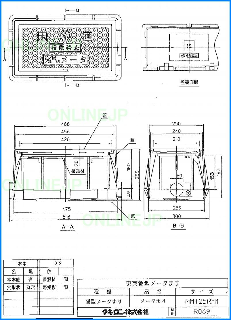 MMT25RH1【タキロン】東京都型 メーターボックス 20 ・25mm
